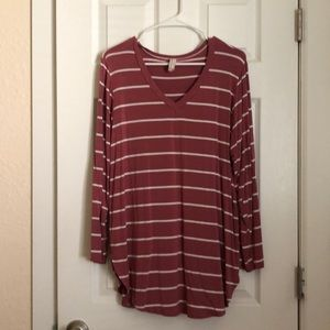 Tops - Mauve stripped long sleeve shirt